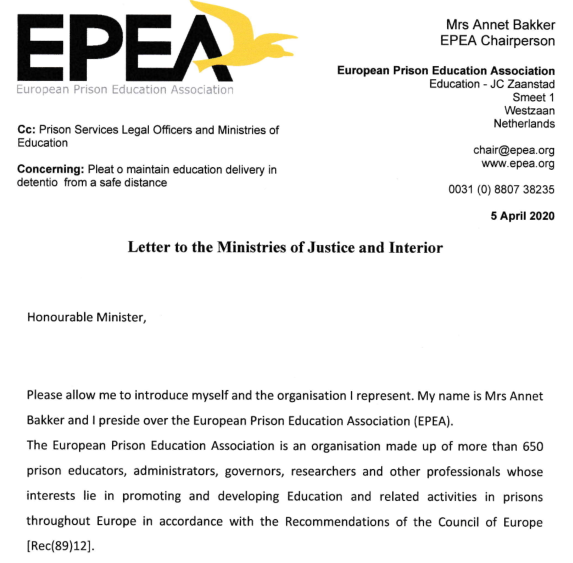 EPEA writes Ministries of Justice in Europe